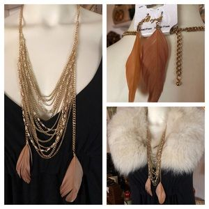 NWT Multi-Chain Feather Necklace & Earrings
